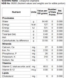 USDA Persimmon Nutrient Information