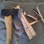 Step # 3: Rough cut the spoon with a sharp axe.