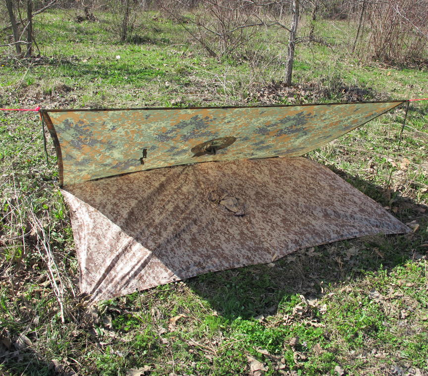 Horizontal Lean To Front With 2nd Poncho Ground Tarp