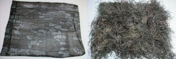 Two mesh bags.  On the right is the author's personal ghillie headnet/gear bag.