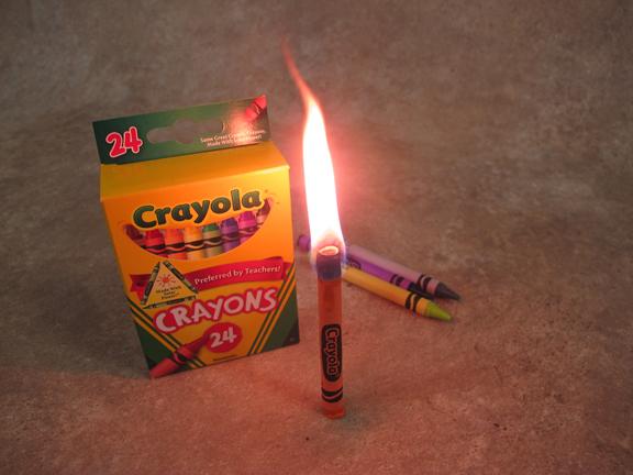 Crayola crayon candle fire.